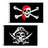 Vlalin Pirate Flag, 2 PCS 2' x 3' Skull and Crossbones Jolly Roger Flag for Outdoor