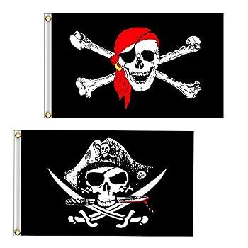Vlalin Pirate Flag 2 PCS 2  x 3  Skull and Crossbones Jolly Roger Flag for Outdoor
