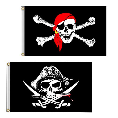 Pirate with CrossKnife and Red Scarf Halloween Flag