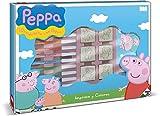 Multiprint Maxi Valija 7 Sellos para Niños Peppa Pig, 100% Made in Italy, Set Sellos Niños Persolanizados, en Madera y Caucho Natural, Tinta Lavable no Tóxica, Idea de Regalo, Art.04875
