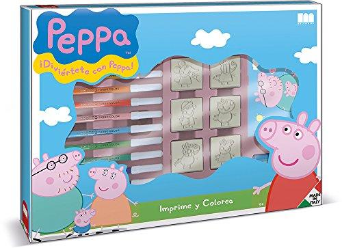 Multiprint Valigiotto Maxi 7 Timbri per Bambini Peppa Pig, 100% Made in Italy, Set Timbrini Bimbi Personalizzati, in Legno e Gomma Naturale, Inchiostro Lavabile Atossico, Idea Regalo, Art.04875