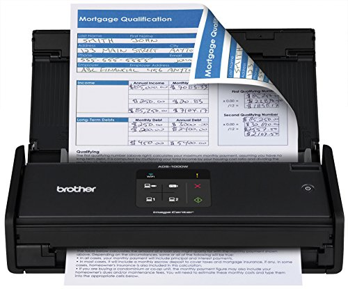 Brother ADS1000W Compact Color Desktop Scanner with Duplex and Wireless Networking,Black