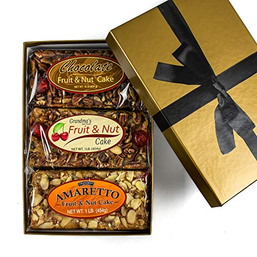 Grandma's Gourmet Fruitcake Assorted Flavors of Amaretto, Traditional and Chocolate Fruit and Nut Cakes | NO Citron or Other Bitter Candied Fruit | 3 - 1 lb Loaves in Gold Gift Box