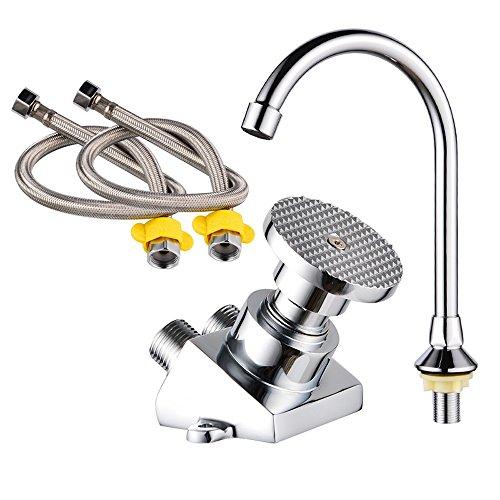 Neilyn Oblicuo Pedal del pie Faucet Laboratorio Lleno de Cobre Faucet Tap Switch Válvula Hospital de Alimentos de la fábrica Cirugía Wash The Mixer Taps (con Dos mangueras de 100 mm)