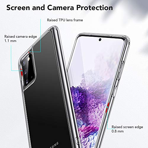 ESR Glass Case Compatible with Samsung Galaxy S20 (6.2-Inch) [9H Tempered Glass Back] [Cover with TPU Frame] [Scratch-Resistant] [Soft Bumper] ?Clear