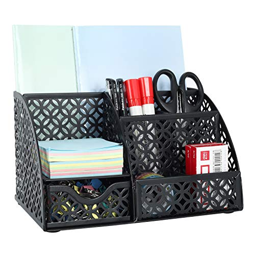 EasyPAG Office Desk Organizer 5 Compartments Desktop Accessories Caddy with DrawerBlack