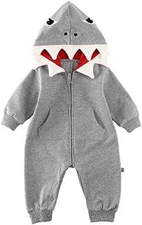 ALLAIBB Baby Shark Costumes Onesie Cotton 3D Cartoon Romper Cute Jumpsuit Hooded Outwear for Newborn Infant Kids Boys Girls  (12-18M, Gray)