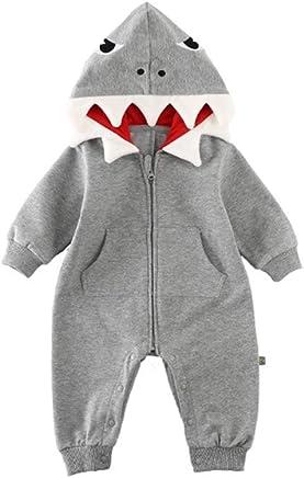 1e97420aa85b ALLAIBB Baby Boys Girls Cotton Cartoon Shark Romper Cute Jumpsuit Hooded  Outwear Costume (12-