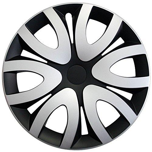 Autoteppich Stylers Radkappen/Radzierblenden 15 Zoll MIKA SCHWARZ-Silber (Farbe wählbar) passend für Fast alle Fahrzeugtypen – universal