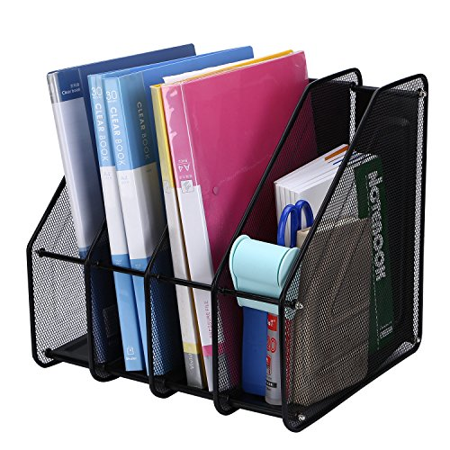 TOROTON 4 Compartimentos Revistero archivador de Malla metálica, Estante para Escritorio Archivadores de revistas, para Organizador Archivo Documento Cuadernos Carpetas - Negro