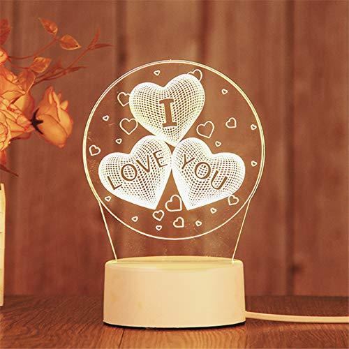 3D Lampe Optische Illusion Nachtlicht,LED Warmweiß Zuhause Dekor Tischleuchte,USB Kinder Deko Licht, für Junge Mädchen Kinder Weihnachten Geburtstag beste Geschenk Spielzeug (3 Herzen)