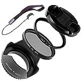 Lomos - Juego de accesorios para objetivo (55 mm, parasol, filtro de protección UV, filtro polarizado, tapa de objetivo y soporte, para objetivo de cámara Sony con rosca de filtro de 55 mm)