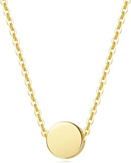 Solid Real 14K Yellow Gold Tiny Dot 6mm Round Small Little Cute Polished Coin Necklace Pendant Dainty Everyday Fine Jewelry for Women Girls, 16+2 Extender Gold Chain
