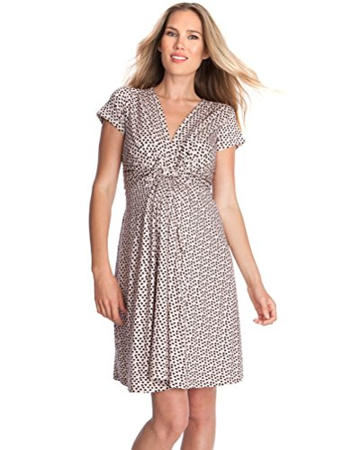 Seraphine Maternity Dress - Nursing Dress Jolene Knot Front Maternity and Nursing Dress - Short Sleeve - Print - Pink Dot - 14