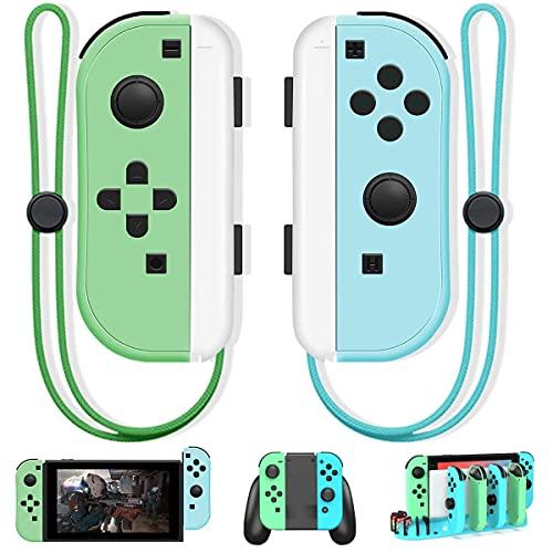 Joy Pad Controller, controle sem fio Joy Con substituto com tema de cruzamento animal, compatível com Nintendo Switch L/R Joy, suporta função de despertar, eixo giroscópio, pulseira... (verde)
