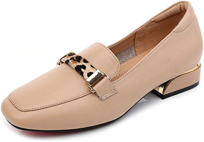 UYSK Lederschuhe für Damen Studentenschuhe im britischen Stil Rover-Schuhe Rover-Schuhe mit flachen Sohlen (Größe 5.5-11)-apricot-37  Beliebt