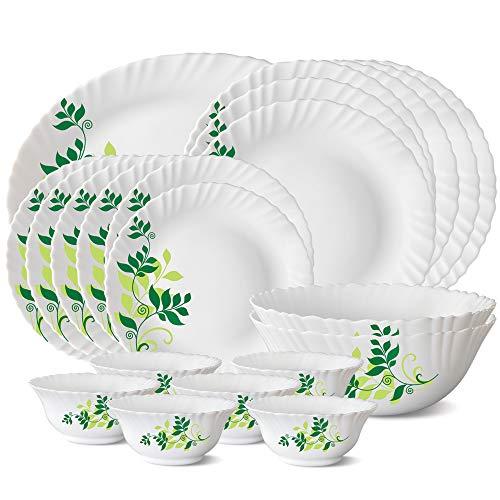 Larah by Borosil Fern Opalware Dinner Set, 21-Pieces, White
