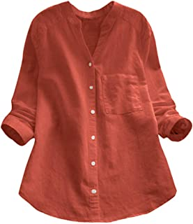 Aniywn Women's Button Down Loose Tunic Pullover Short Sleeve T-Shirt Summer Plus Size Cotton Blouse Tee