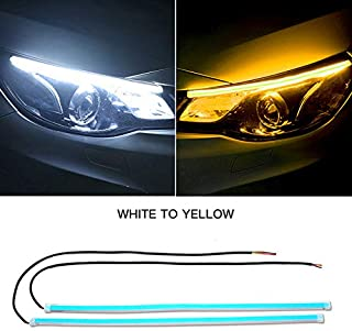 FAYUE 60CM Daytime Running Light DRL Flexible LED Strip Lights, 2Pcs 24 Inches White-Amber Dual Color Waterproof Flexible Ultrathin LED strip light Turn Signal Lights Switchback Headlight