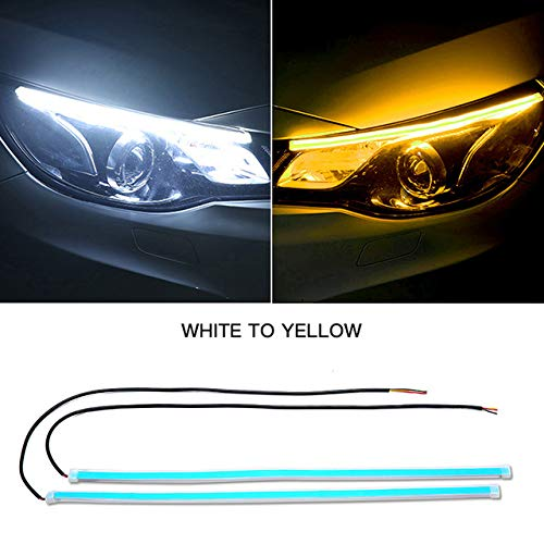 FAYUE 2Pcs 24 Inches DRL LED Light Strip, Car Flexible Daytime Running Lights Ice White-Amber Dual Color Sequence LED Strip Tube Switchback Headlight & Turn Signal Lights Tube Fits for Any 12V Cars