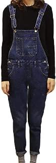 XINHEO Women Pocket Denim Tapered Ripped Ripped Hole Slim Fit Bib Trousers