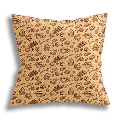 QTYVI Chocolate Candy Pattern Kissenbezug Baumwolle Home Decor Kissenbezug Quadratische dekorative Kissen Kissenbezug...