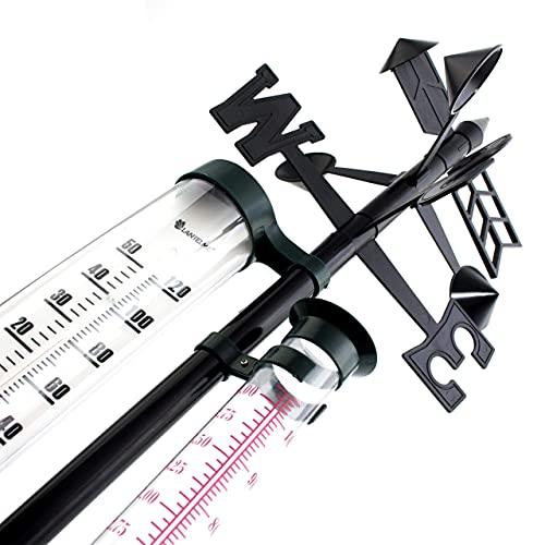 Lantelme analoge Wetterstation mit Regenmesser Windrichtungsanzeiger und Außen Thermometer für Messungen Garten 8284