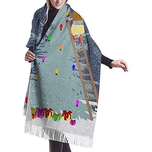 Nice-Guy Cuscino natalizio Scialle Avvolgere Sciarpa calda invernale Mantello Sciarpa ampia e morbida in cashmere avvolgente Womans Scialle caldo Stola