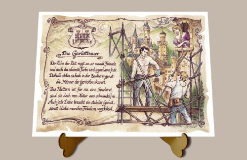 Geschenk Gerüstbauer Gerüstbau Zeichnung Color 30 x 21 cm mit Aufsteller