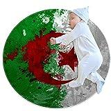 Alfombra de juego para bebé, redonda, alfombra de gatear, manta de juego, divertido gimnasio, tapete de juego para niños y niñas, diseño de bandera de Argelia