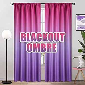 COSVIYA Ombre Room Darkening Curtains 84 inches Length for Living Room Light Blocking Pink to Purple 2 Tone Reversible Rod Pocket Gradient Window Drapes for Kids Bedroom 2 Panels 52 inches Wide