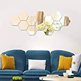 12 Pièces Réglage Miroir Mural Autocollant Miroirs Muraux Stickers Acrylique Hexagone Mural Autocollant pour Maison Chambre Salon Décor 20 * 17 cm