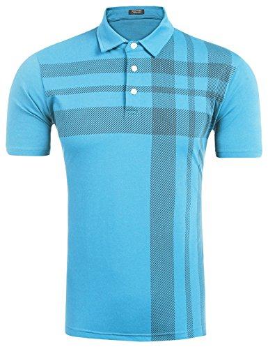Burlady Polo Shirts Herren, Sommer Herren Mode Persönlichkeit Männer Casual Schlank Kurzarm Patchwork T-Shirt Top Bluse- Gr. XL, Skyblue