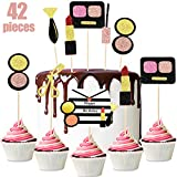 42 Pieces Makeup Cupcake Toppers Glitter Cosmetics Cake Toppers Dessert Decoration for Women Cosmetics Theme Bridal Shower Girl Happy Birthday Party Cake Decoration Supplies