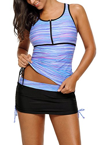 GOSOPIN Womens Color Block Racerback Tankini Tops Skirt with Pants Swimsuits O Neck Bathing Suits Purple Plus XX Large