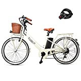 NAKTO 250W Electric Bike 26' Electric Bicycle 6 Speed Electric Bikes for Adults City Ebike for Women with Basket High Speed Electric Bikes with 36V 12AH Removable Battery