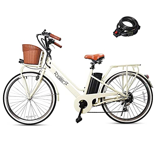 """NAKTO 250W Electric Bike 26"""" Electric Bicycle 6 Speed Electric Bikes for Adults City Ebike for Women with Basket High Speed Electric Bikes with 36V 12AH Removable Battery"""