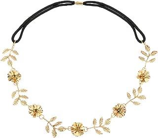 Yalice Elastic Flower Head Chain Gold Leaf Headband Wedding Hair Acessories for Women and Girls