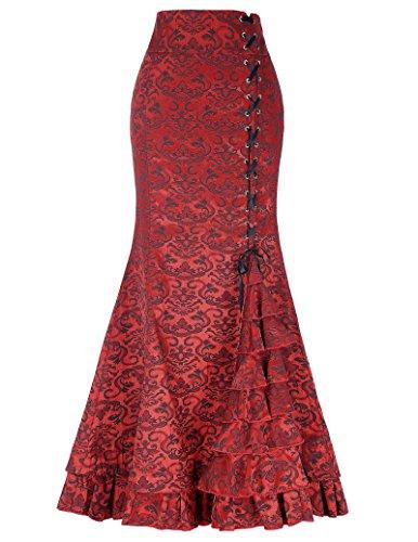 Belle Poque Zapatos Rojos del Jacquard Plegado de Tiras Cola de Pescado Falda Sirena del cordón del cinturón de Alta BP000204-2_USA4