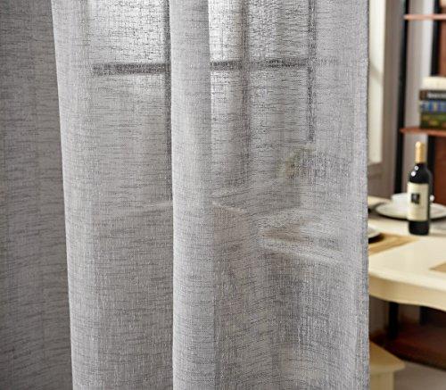 WOLTU VH5863dgr-2, 2er Set Gardinen transparent mit Schlaufen Leinen Optik, Doppelpack lichtdurchlässige Vorhänge Stores Fensterschal für Wohnzimmer Kinderzimmer Schlafzimmer, 140x245 cm Dunkelgrau
