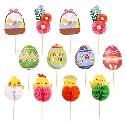 ABOOFAN 12 Unids Pascua Cupcake Topper Spring Cake Picks Huevos de Pollo Flor Cupcake Topper Food Picks Fiesta de Pascua Decoraciones para Pasteles