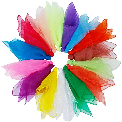 Rovtop 15Pcs Dance Scarves, Muti-color Square Juggling Silk Dance Scarves Magic Tricks Performance Props Accessories Movement Scarves Rhythm Band Scarf 60 x 60 cm