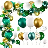 Auihiay 123 Pieces Jungle Balloons Garland Kit with Green Balloons, Palm Leaf, Ivy Vines and Balloon Strip for Safari Green Balloon Party, Baby Shower Tropical Party Decorations