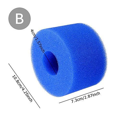Seasons Shop schuim voor zwembad, waterfilter, vervangend patroon van schuimrubber Intex type S1, wasbaar, herbruikbaar, schuimstof-cartouche spons (blauw)
