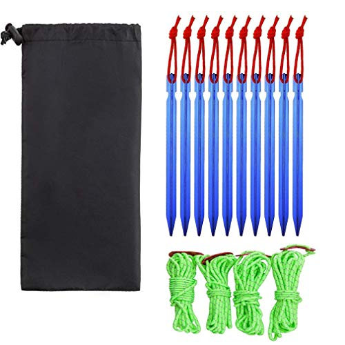 Maraba Pack of 10 Tent Stakes with 4x4m Guy Lines 4 Line Cords Adjuster Stakes Heavy Duty Stakes for Family Camping Hiking