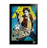 Han Solo (Harrison Ford) y Millennium Falcon de Star Wars - Pintura Enmarcado Original, Imagen Pop-Art, Impresión Póster, Impresion en Lienzo, Cuadro, Cómics, Cartel de la Película