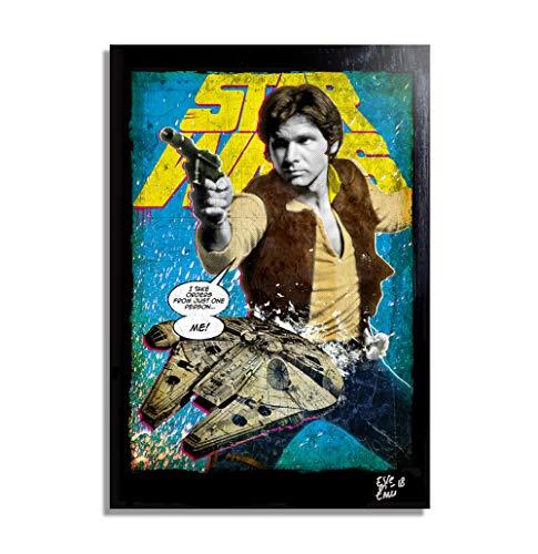 Han Solo (Harrison Ford) y Millennium Falcon de Star Wars - Pintura Enmarcado Original, Imagen Pop-Art, Impresion Poster, Impresion en Lienzo, Cuadro, Comics, Cartel de la Pelicula