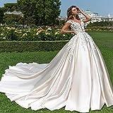 HIN GU - Wedding dress Vestito da Sposa Sexy Scollo a V Morbido Raso Principessa Abito da Sposa Cappella Treno Appliques in Rilievo Fiori Abiti da Sposa (Color : Beige, US Size : 20W)
