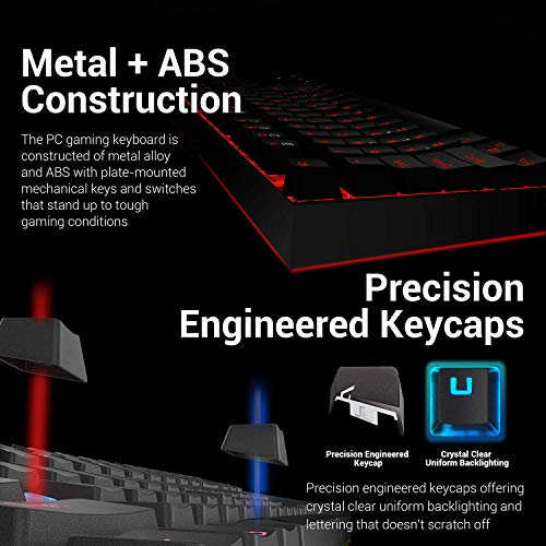 Redragon K552-RGB-BA Mechanical Gaming Keyboard and Mouse Combo Wired RGB LED Backlit 60% with Arrow Key Keyboard & 7200 DPI Mouse for Windows PC Gamers (Tenkeyless Keyboard Mouse Set)
