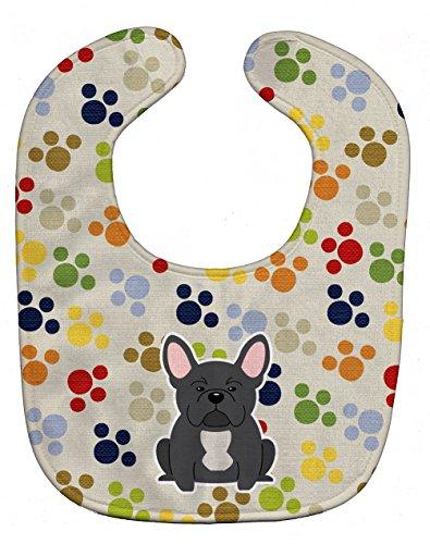 Caroline's Treasures BB5843BIB Pawprints French Bulldog Black Baby Bib, 10 x 13', multicolor